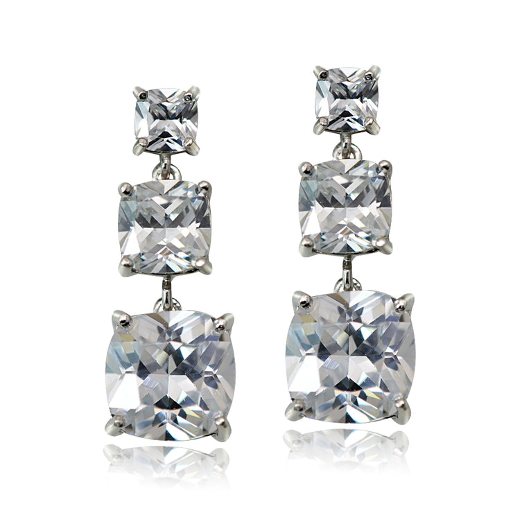 Sterling Silver 10.8ct Cubic Zirconia Three Stone Cushion-Cut Drop Earrings