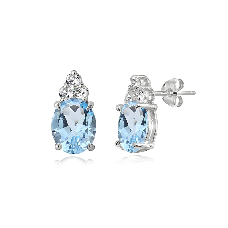 Sterling Silver Blue and White Topaz Oval Crown Stud Earrings