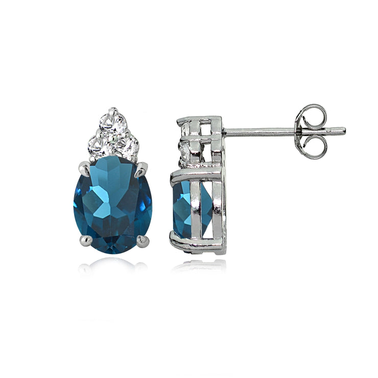 Sterling Silver London Blue and White Topaz Oval Crown Stud Earrings