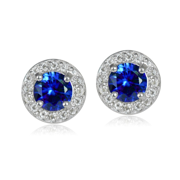 Sterling Silver 1.15ct Created Blue Sapphire & White Topaz 5mm Halo Stud Earrings