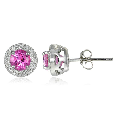 Sterling Silver 2.15ct Created Pink Sapphire & White Topaz 5mm Halo Stud Earrings
