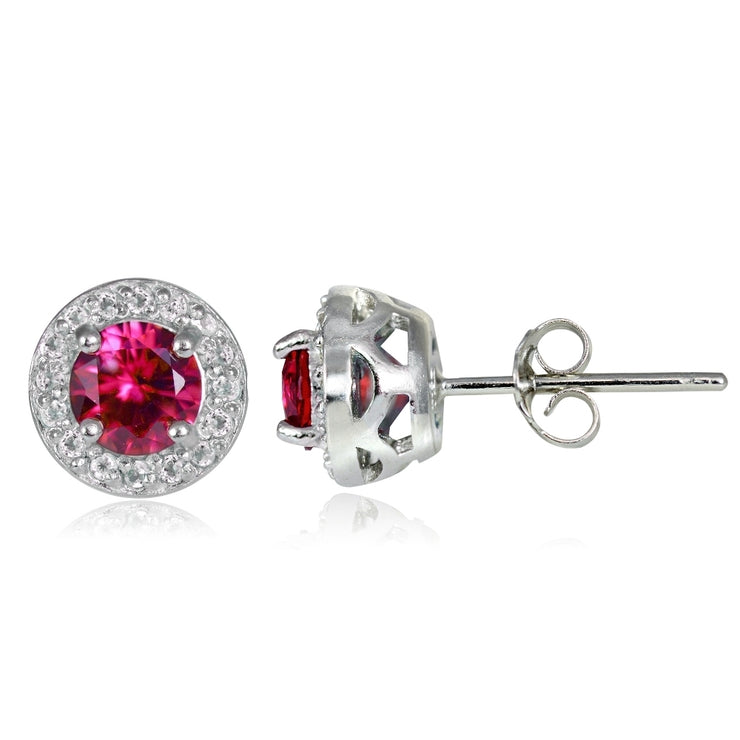 Sterling Silver 1.05ct Created Ruby & White Topaz 5mm Halo Stud Earrings
