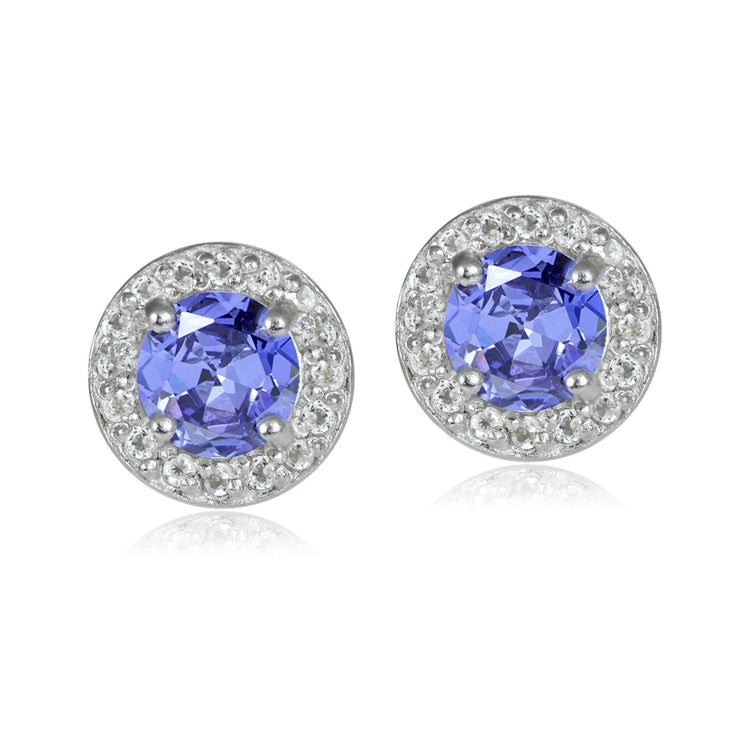 Sterling Silver 1.05ct Tanzanite & White Topaz 5mm Halo Stud Earrings