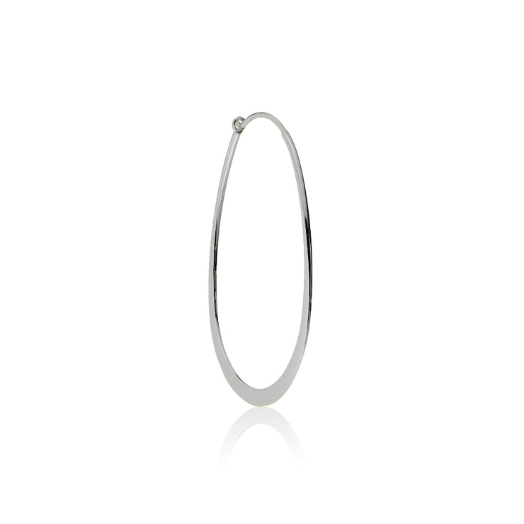 Sterling Silver Flat Thin Oval Polished Hoop Earring