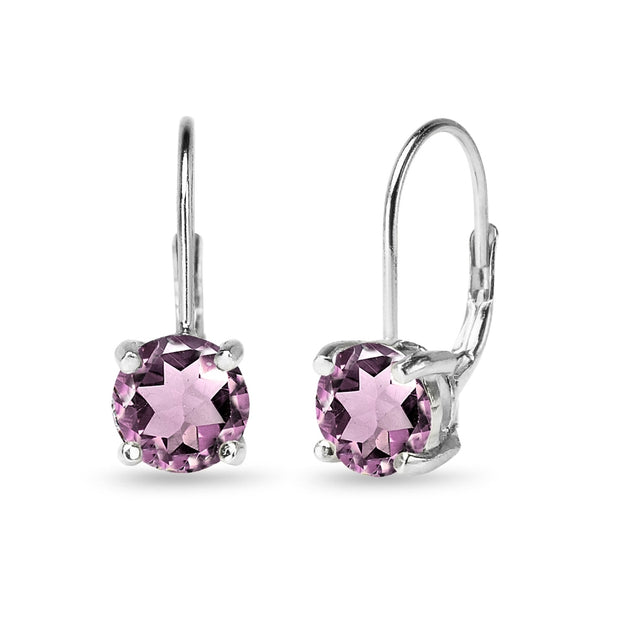 Sterling Silver Polished Created Alexandrite 7mm Round Dainty Leverback Earrings
