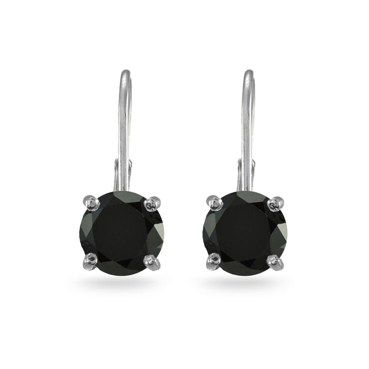 Sterling Silver Black Cubic Zirconia Round 7mm Leverback Earrings