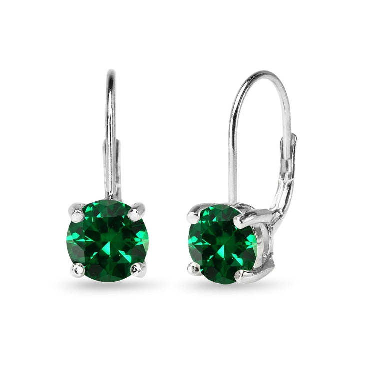 Sterling Silver Polished Simulated Emerald 7mm Round Dainty Leverback Earrings