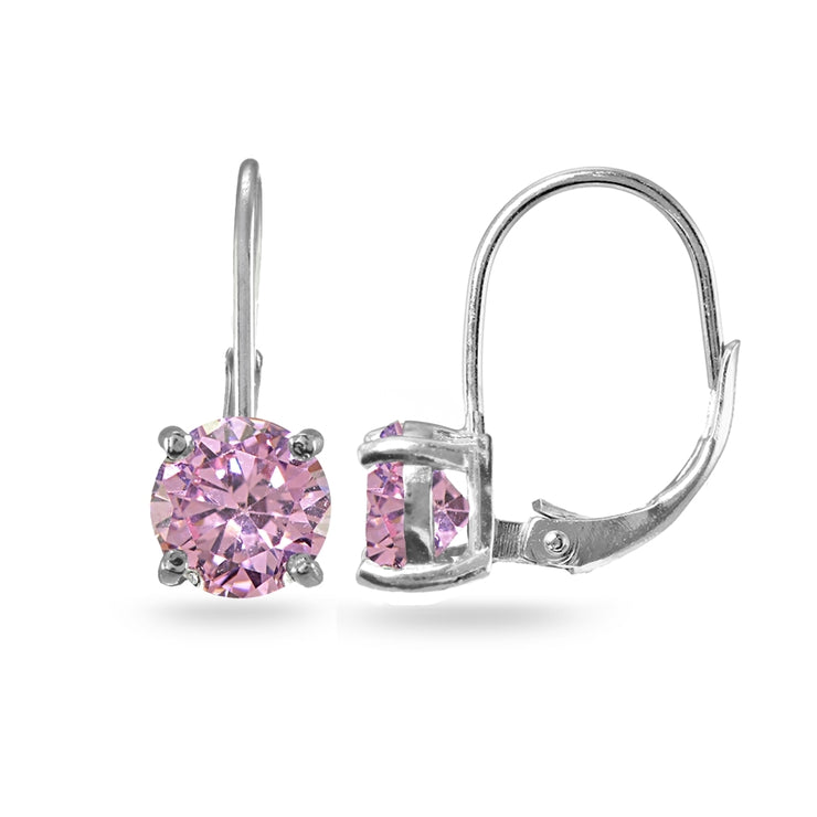 Sterling Silver Pink Cubic Zirconia Round 7mm Leverback Earrings