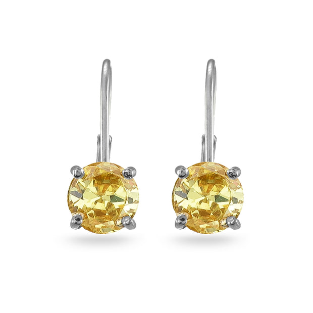 Sterling Silver Yellow Cubic Zirconia Round 7mm Leverback Earrings