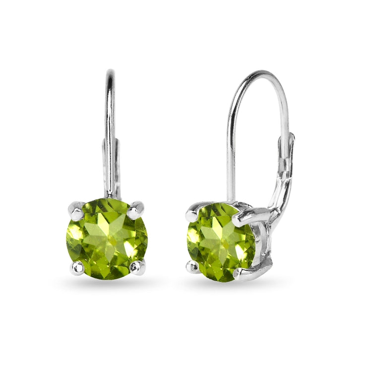 Sterling Silver Polished Peridot 7mm Round Dainty Leverback Earrings
