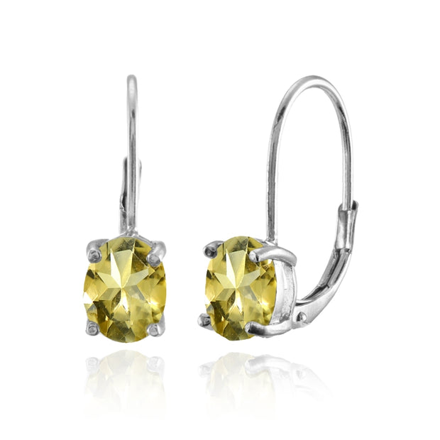 Sterling Silver Citrine 8x6mm Oval Leverback Earrings