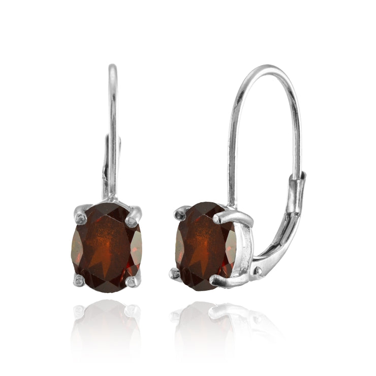 Sterling Silver Garnet 8x6mm Oval Leverback Earrings
