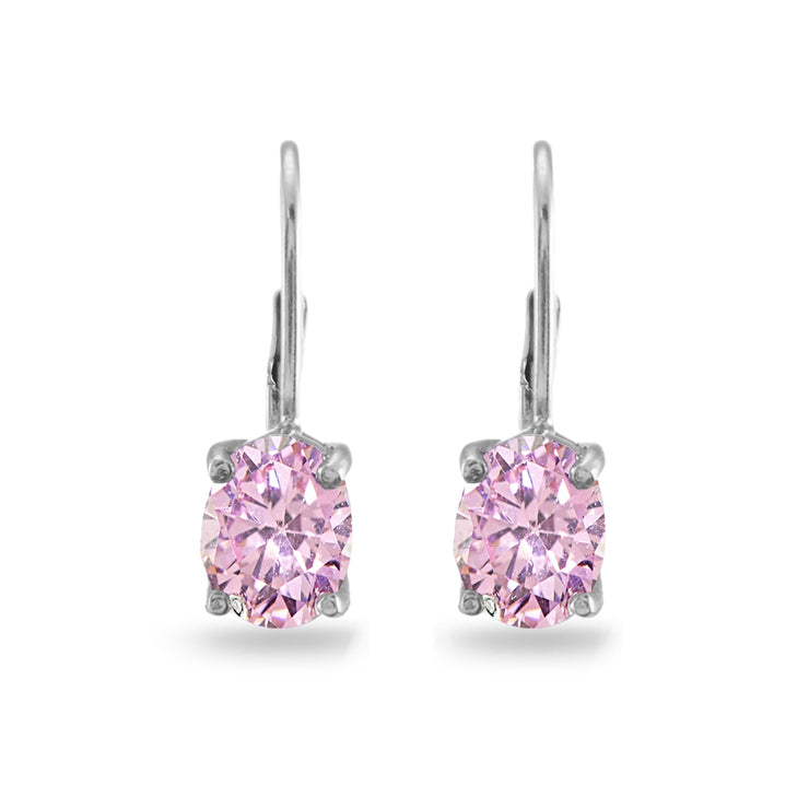 Sterling Silver Pink Cubic Zirconia Oval 8x6mm Leverback Earrings