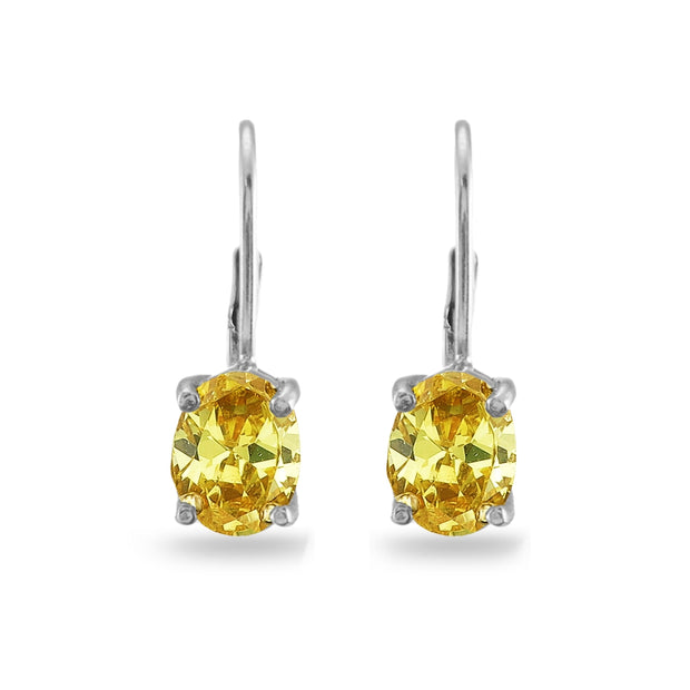Sterling Silver Yellow Cubic Zirconia Oval 8x6mm Leverback Earrings