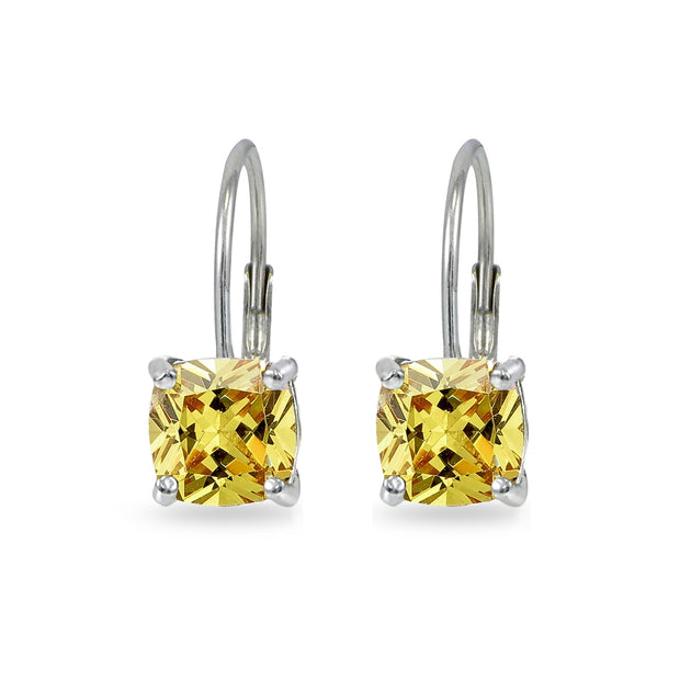 Sterling Silver Yellow Cubic Zirconia Cushion-cut 7x7mm Leverback Earrings