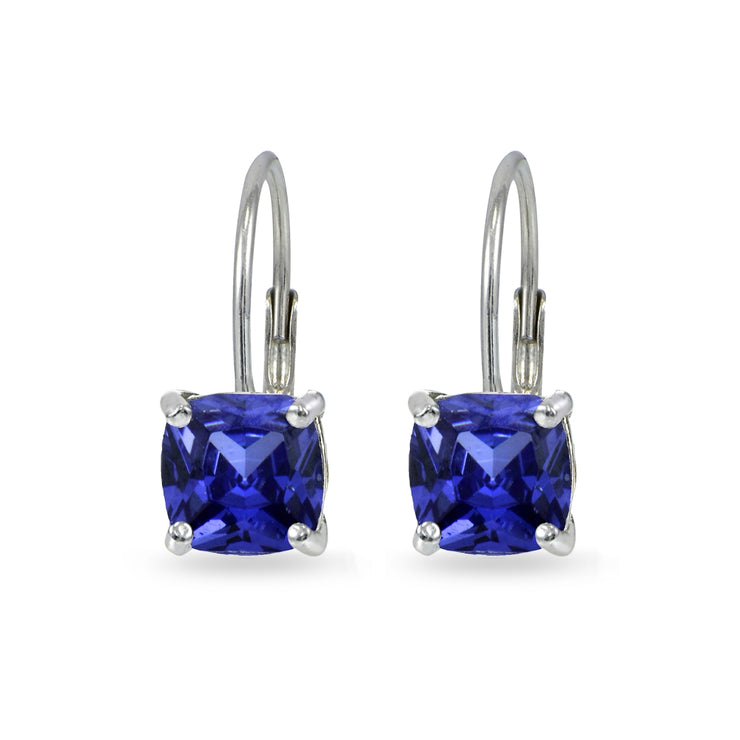 Sterling Silver Created Tanzanite 7x7mm Cushion-Cut Leverback Earrings