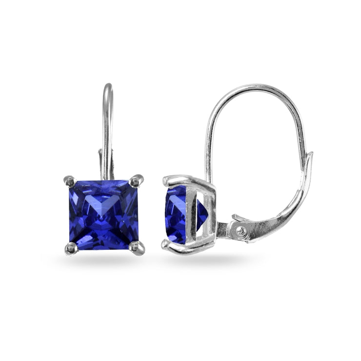 Sterling Silver Blue Cubic Zirconia Princess-cut 7x7mm Leverback Earrings