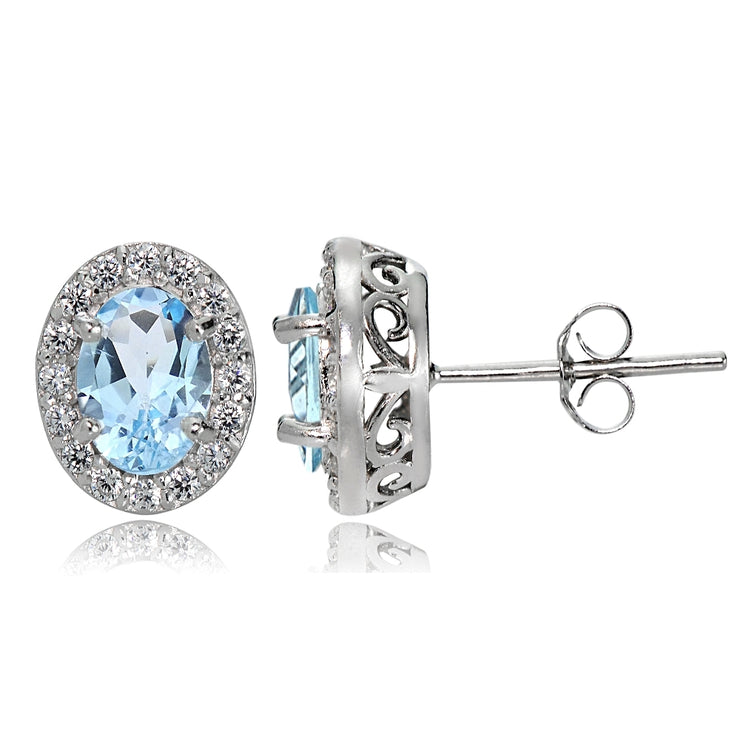 Sterling Silver Blue and White Topaz Oval Halo Stud Earrings
