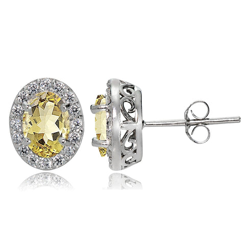 Sterling Silver Citrine and White Topaz Oval Halo Stud Earrings
