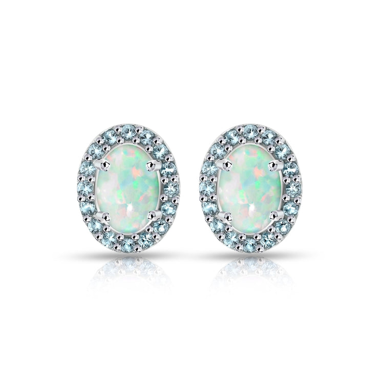 Sterling Silver Created White Opal and Blue Topaz Oval Halo Stud Earrings