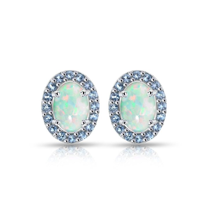 Sterling Silver Created White Opal and Tanzanite Oval Halo Stud Earrings