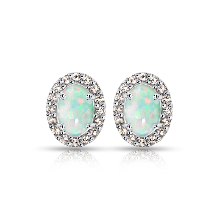 Sterling Silver Created White Opal and Morganite Oval Halo Stud Earrings