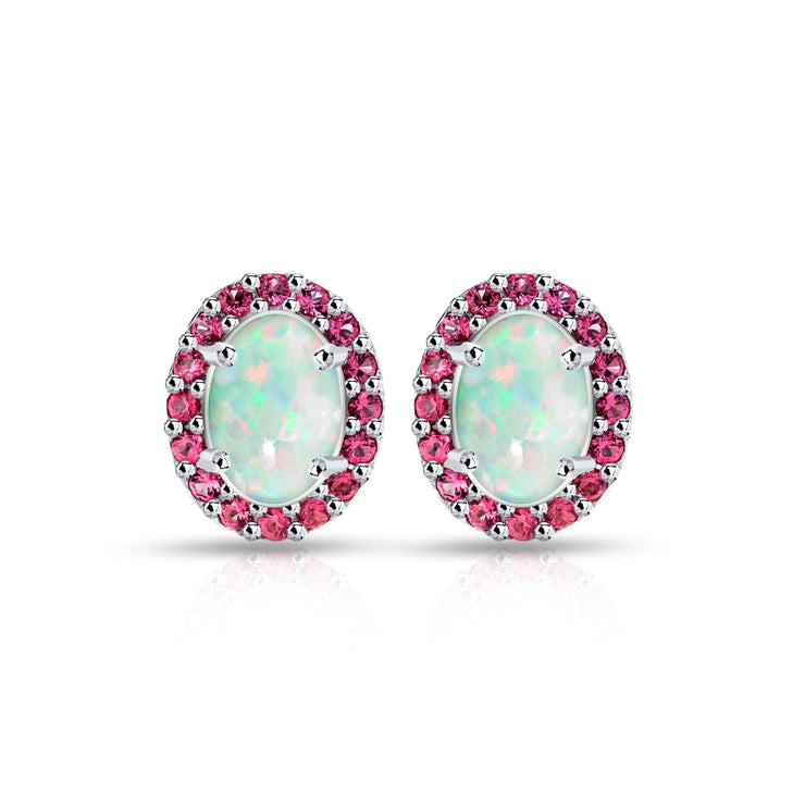 Sterling Silver Created White Opal and Garnet Oval Halo Stud Earrings