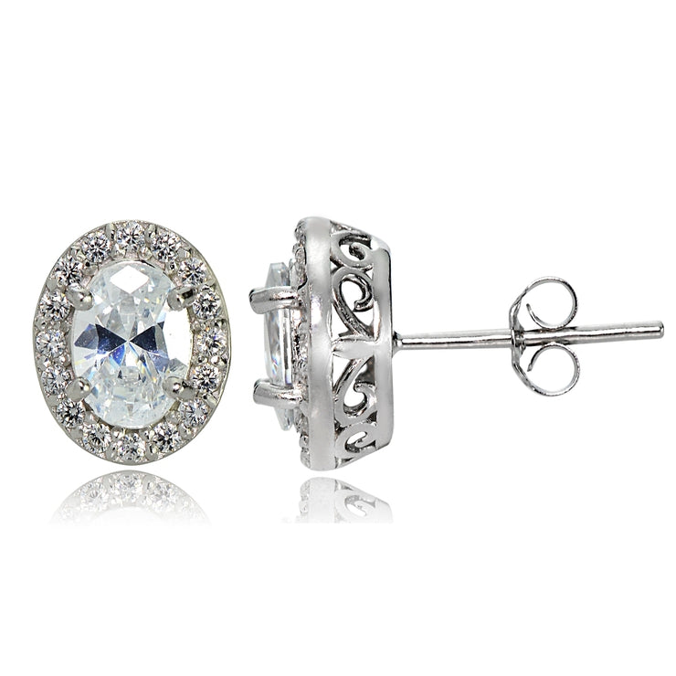 Sterling Silver Cubic Zirconia Oval Halo Stud Earrings