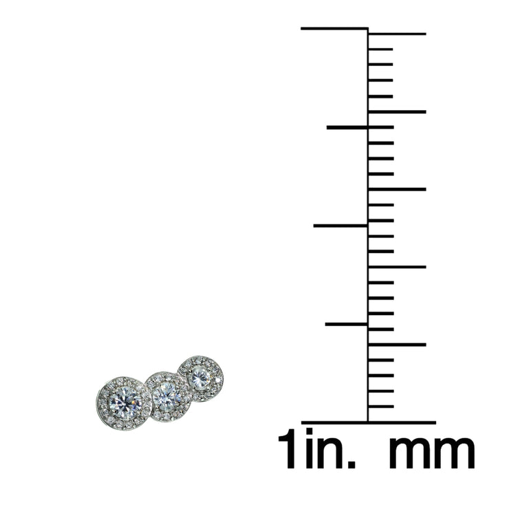 Sterling Silver Cubic Zirconia Three Stone Halo Crawler Climber Hook Earrings