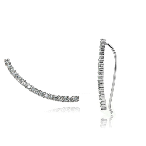 Sterling Silver Cubic Zirconia Curved Crawler Climber Hook Earrings