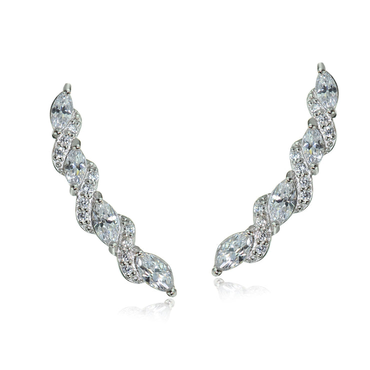 Sterling Silver Cubic Zirconia Twist Crawler Climber Hook Earrings