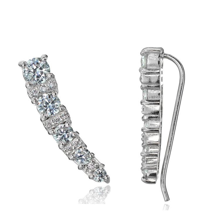 Sterling Silver Cubic Zirconia Graduating Crawler Climber Hook Earrings