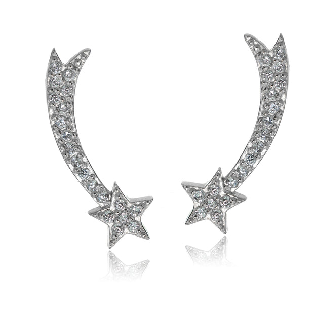 Sterling Silver Cubic Zirconia Shooting Star Crawler Climber Hook Earrings