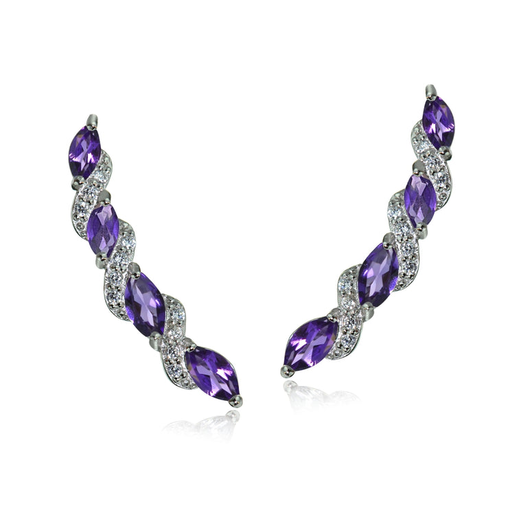 Sterling Silver African Amethyst and White Topaz Twist Crawler Climber Hook Earrings