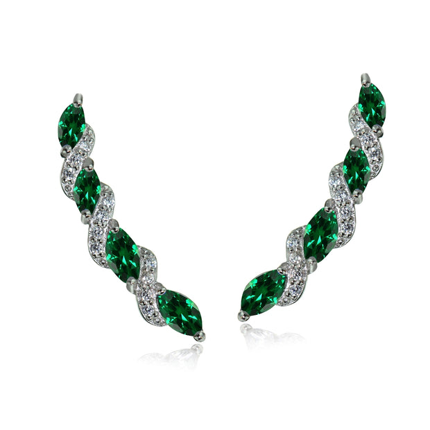 Sterling Silver Created Emerald & White Topaz Twist Crawler Climber Hook Earrings