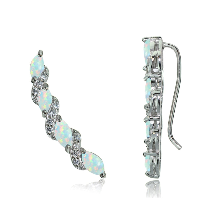 Sterling Silver Created White Opal and White Topaz Twist Crawler Climber Hook Earrings