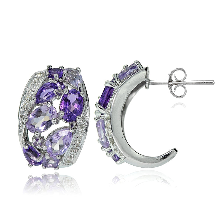 Sterling Silver Amethyst and White Topaz Cluster Tonal Earrings