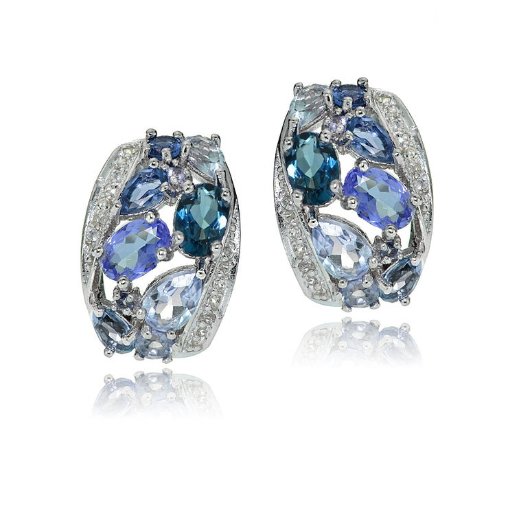Sterling Silver Tanzanite, Aquamarine, London Blue and White Topaz Cluster Tonal Earrings