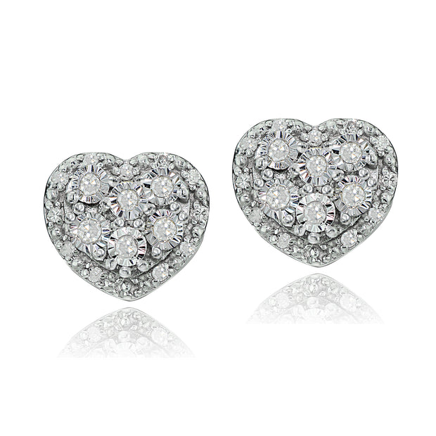 Sterling Silver 0.25ct tdw Diamond Miracle Set Cluster Heart Earrings