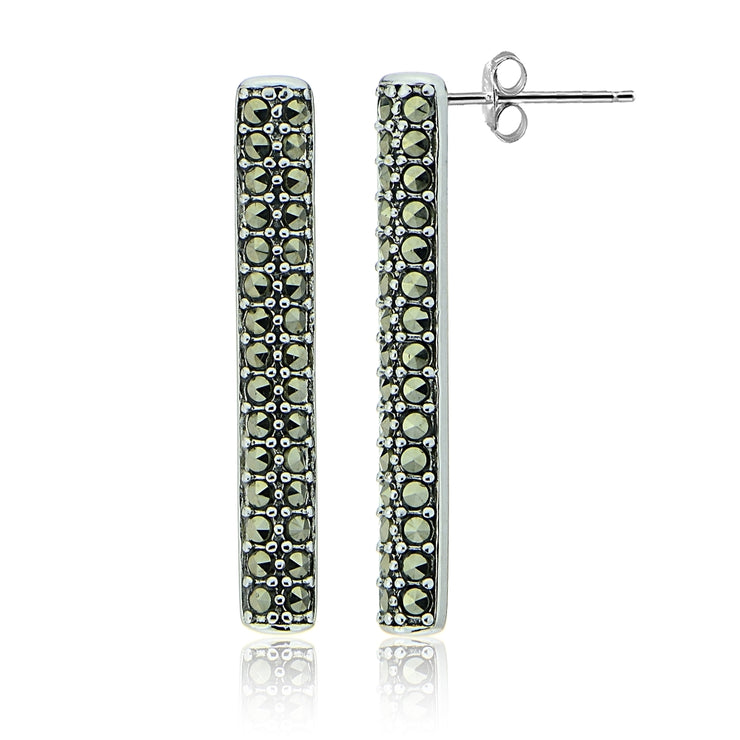 Sterling Silver Marcasite Vertical Bar Drop Earrings
