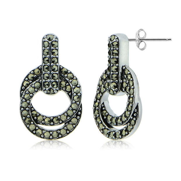 Sterling Silver Marcasite Interlocking Circle and Bar Dangle Earrings