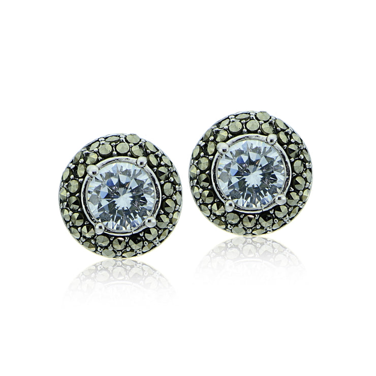 Sterling Silver Marcasite and Cubic Zirconia Halo Stud Earrings