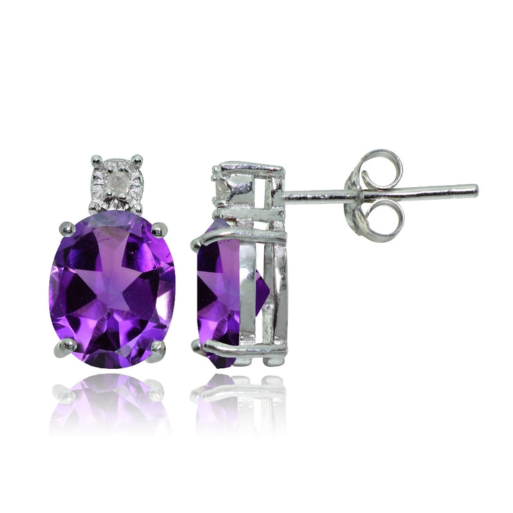 Sterling Silver African Amethyst and Diamond Accent Oval Drop Stud Earrings