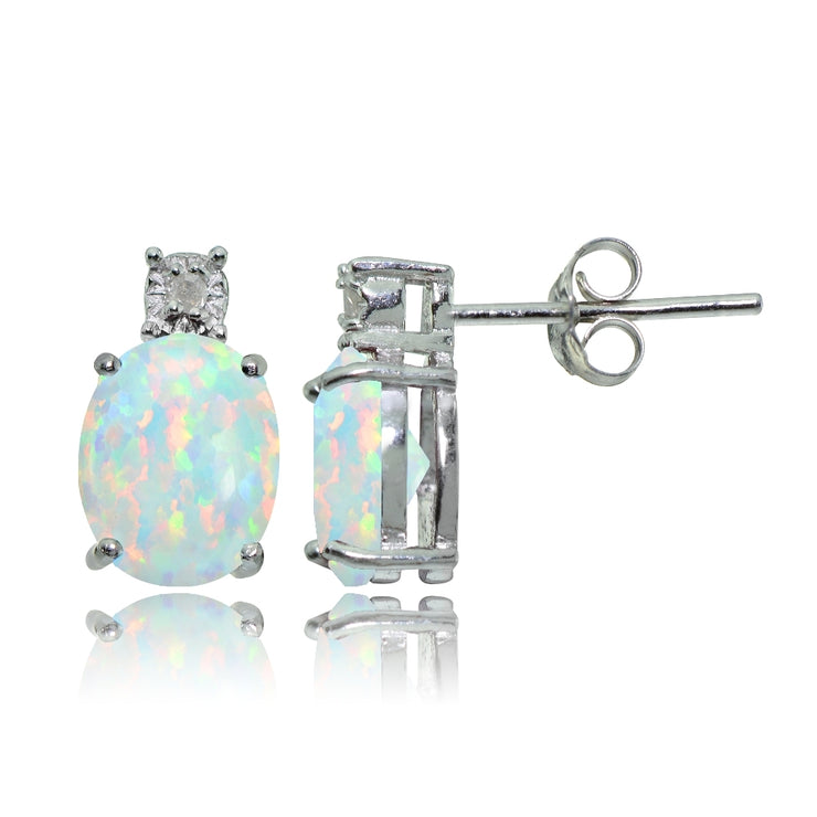 Sterling Silver Created White Opal and Diamond Accent Oval Drop Stud Earrings