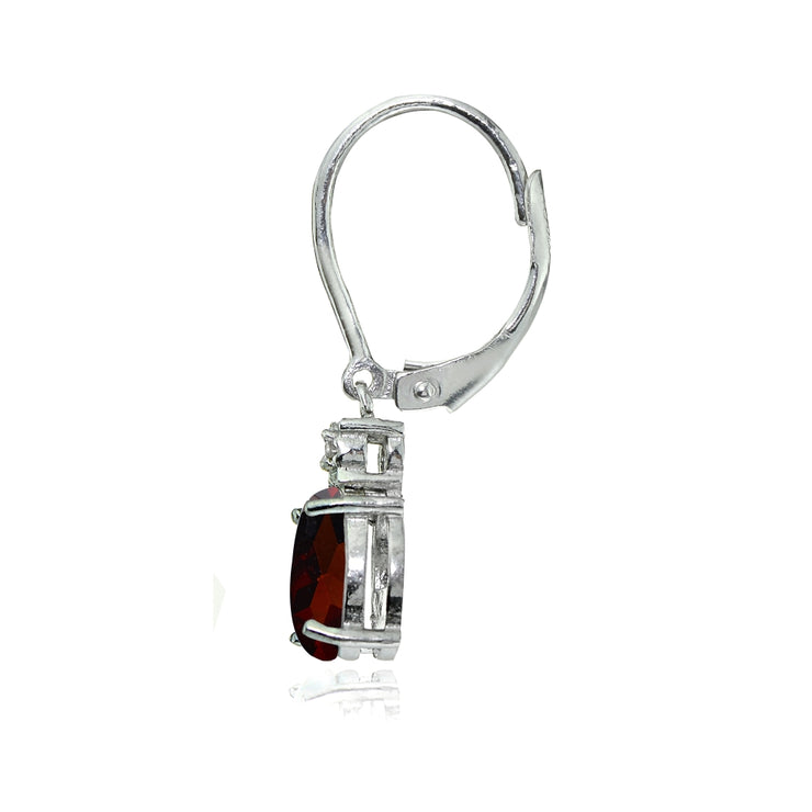 Sterling Silver African Garnet and Diamond Accent Oval Dangling Leverback Earrings