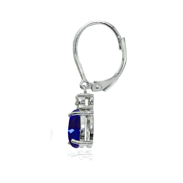 Sterling Silver Created Blue Sapphire and Diamond Accent Oval Dangling Leverback Earrings