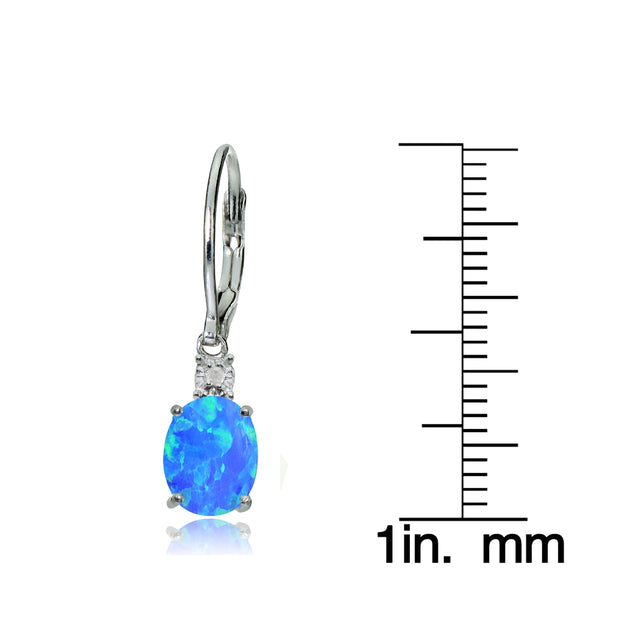 Sterling Silver Created Blue Opal and Diamond Accent Oval Dangling Leverback Earrings