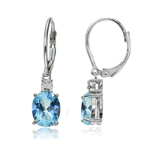 Sterling Silver Blue Topaz and Diamond Accent Oval Dangling Leverback Earrings
