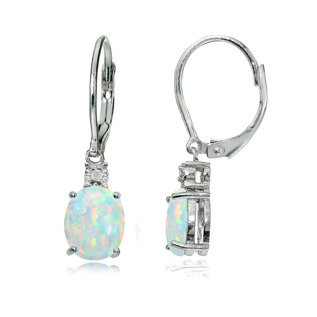 Sterling Silver Created White Opal and Diamond Accent Oval Dangling Leverback Earrings