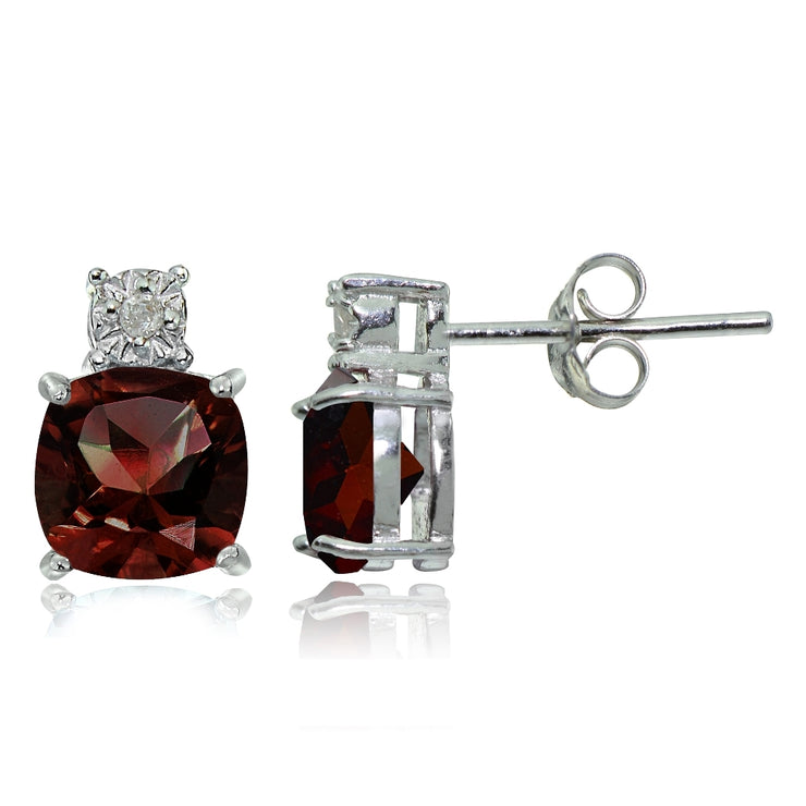 Sterling Silver African Garnet and Diamond Accent Cushion-cut Drop Stud Earrings